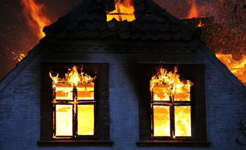 Home during a damaging fire
