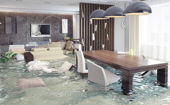 Home in a flood in need of water extraction